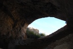 Looking out from the cave entrance